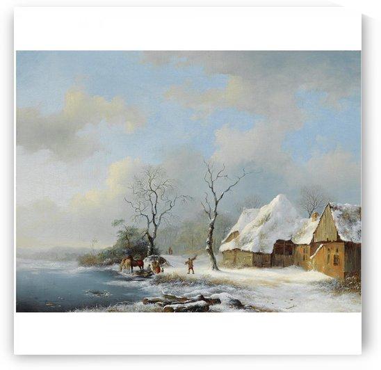 Wood Gatherers in a Snowy Landscape by Frederik Marinus Kruseman