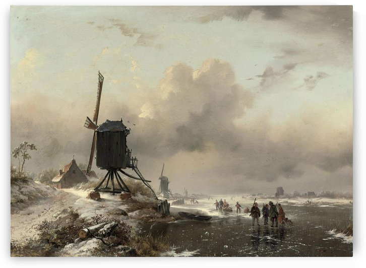 Huntsmen on the ice by Frederik Marinus Kruseman