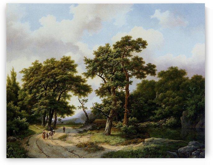 Strollers on forest path Sun by Frederik Marinus Kruseman