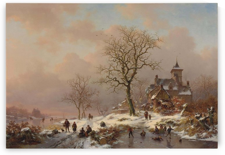 Winter landscape with figures playing on the ice by Frederik Marinus Kruseman