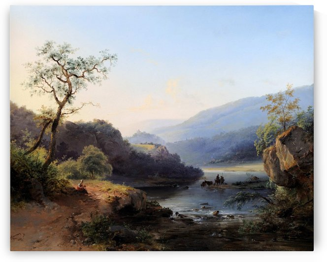 Landscape with lake and figures by Frederik Marinus Kruseman