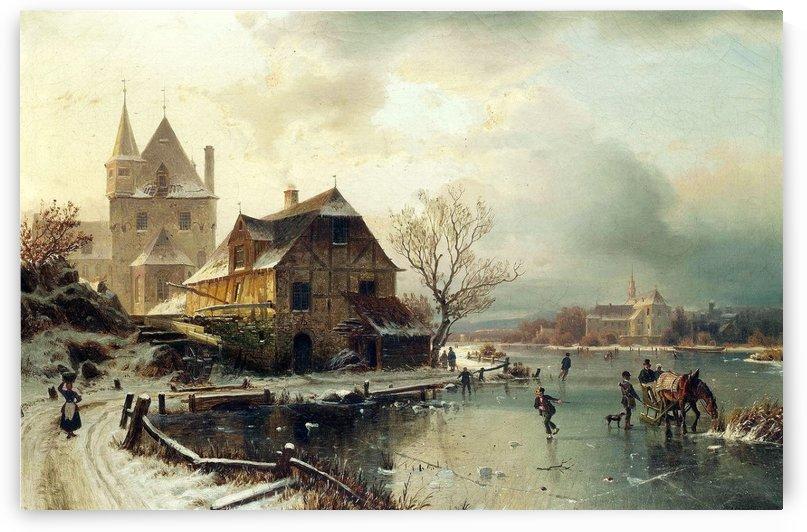 Dutch winter landscape with skaters by Frederik Marinus Kruseman
