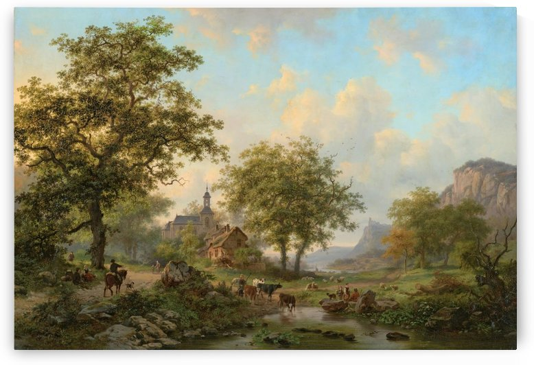 Dutch landscape with figures and animals by Frederik Marinus Kruseman
