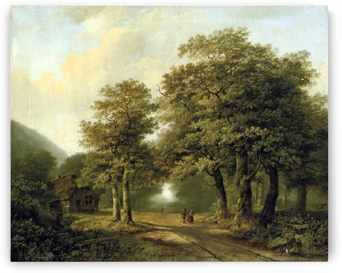 A Forest with Figures on a Sunlit Path by Frederik Marinus Kruseman