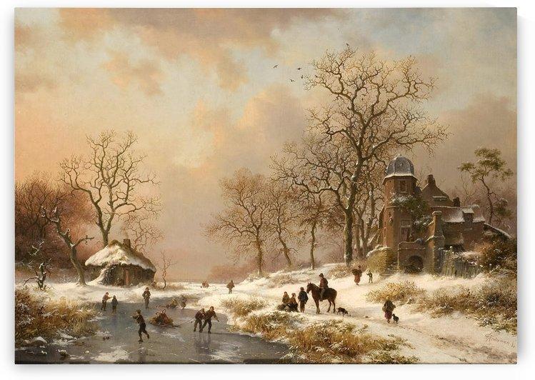 Winterlandschaft mit altem Villengebaude und Eislaufern an by Frederik Marinus Kruseman