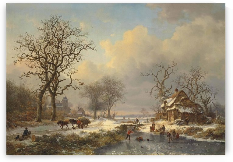 Winter landscape with children playing on the ice by Frederik Marinus Kruseman