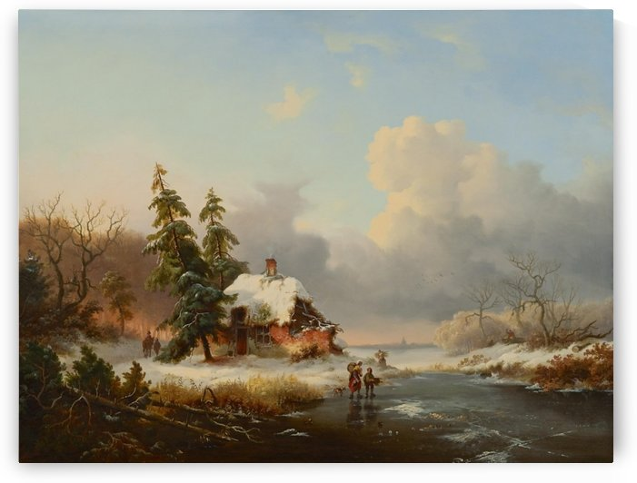 Winter landscape with wood gatherers by Frederik Marinus Kruseman