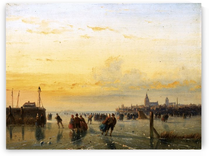 Winter Landscape with Skaters on a Frozen River by Frederik Marinus Kruseman