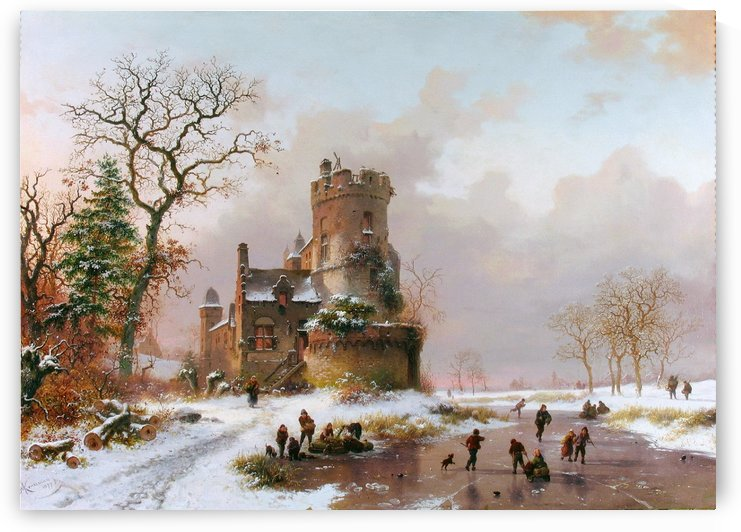 Winter landscape with castle and figures by Frederik Marinus Kruseman