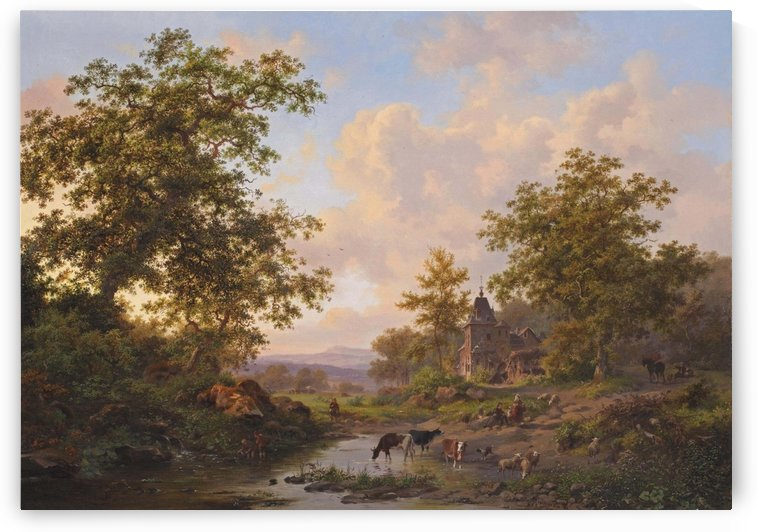 A sunlit river landscape with shepherds resting near a stream by Frederik Marinus Kruseman
