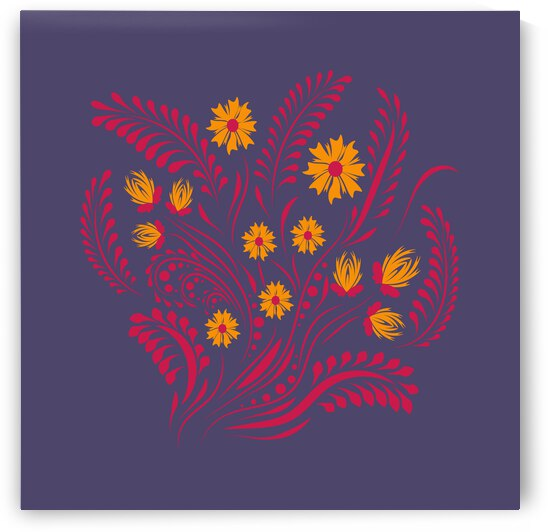 Folk floral print . Flowers abstract art  poster.  by Eskimos