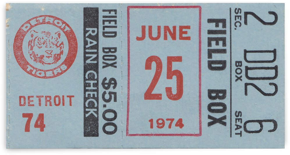 1974 Detroit Tigers Field Box Ticket by Row One Brand