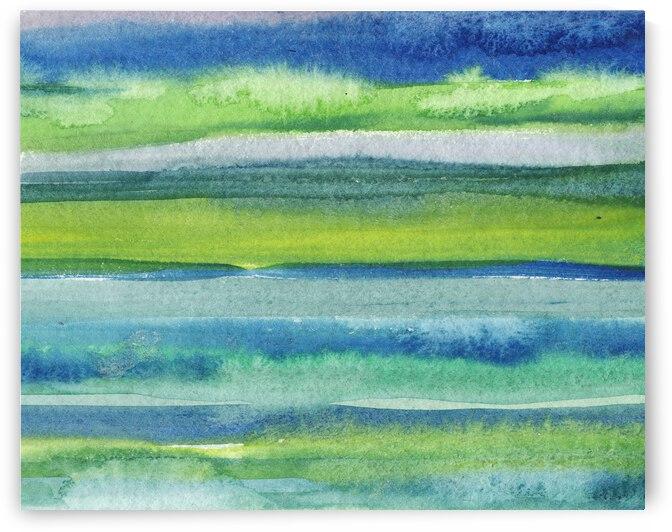 Ocean And Sea Beach Coastal Art Organic Watercolor Abstract Lines II by Irina Sztukowski