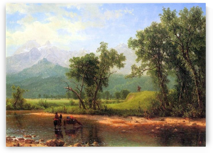 Wind River Mountains, landscape in Wyoming by Bierstadt by Bierstadt
