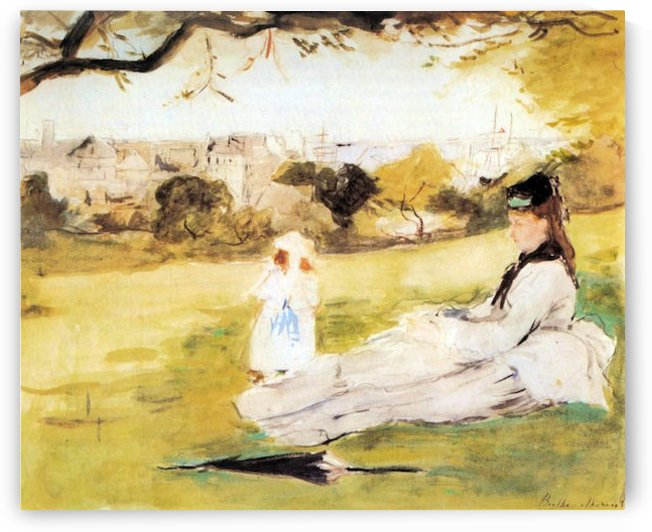 Woman and child sitting in a field by Morisot by Morisot