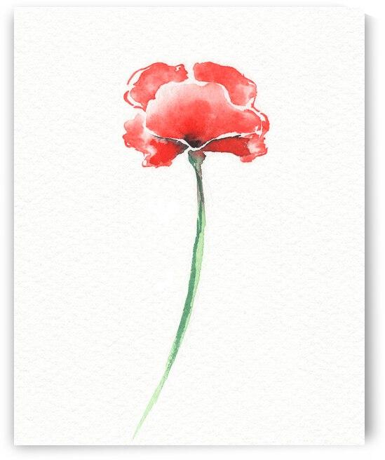 Graceful Beauty Botanical Watercolor Red Poppy Flower I by Irina Sztukowski