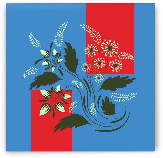 Folk floral art print . Flowers abstract art  poster.  by Eskimos