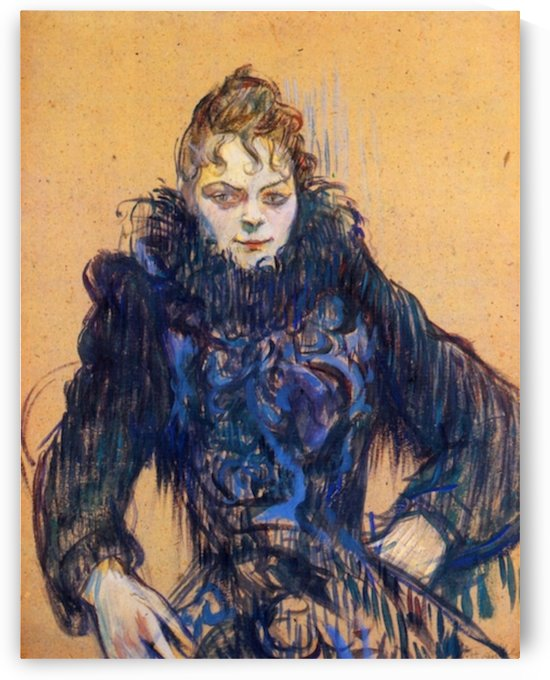 Woman in a black boa by Toulouse-Lautrec by Toulouse-Lautrec