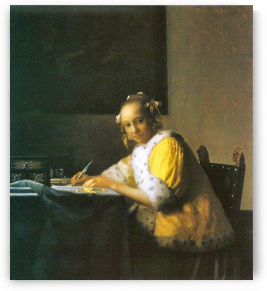 Woman in yellow by Vermeer by Vermeer