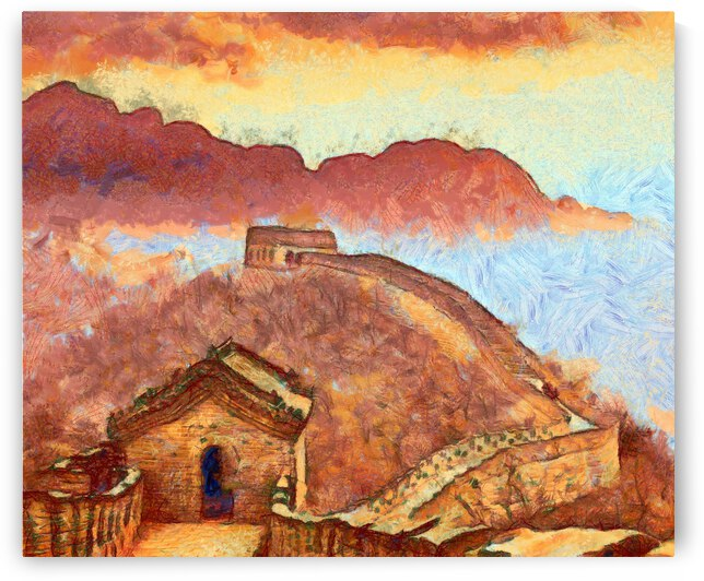 CHINA GREAT WALL OIL PAINTING IN VINCENT VAN GOGH STYLE. 77. by ArtEastWest