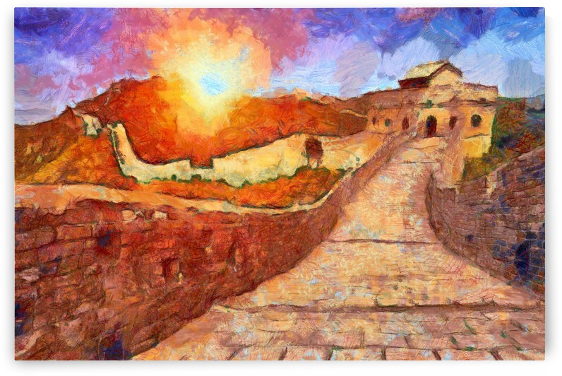 CHINA GREAT WALL OIL PAINTING IN VINCENT VAN GOGH STYLE. 56. by ArtEastWest