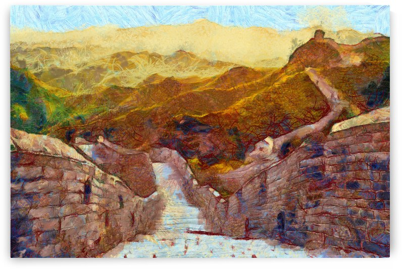 CHINA GREAT WALL OIL PAINTING IN VINCENT VAN GOGH STYLE. 54. by ArtEastWest