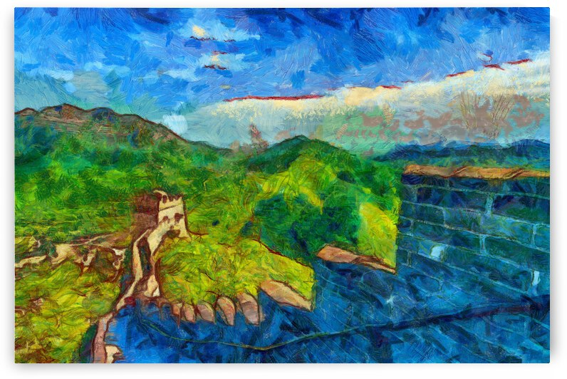 CHINA GREAT WALL OIL PAINTING IN VINCENT VAN GOGH STYLE. 51. by ArtEastWest