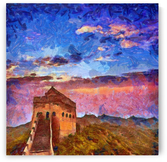 CHINA GREAT WALL OIL PAINTING IN VINCENT VAN GOGH STYLE. 80. by ArtEastWest