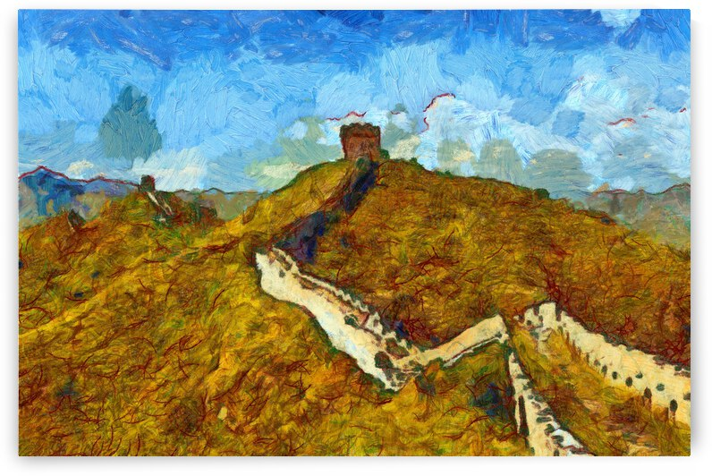 CHINA GREAT WALL OIL PAINTING IN VINCENT VAN GOGH STYLE. 50. by ArtEastWest