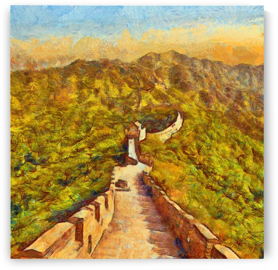CHINA GREAT WALL OIL PAINTING IN VINCENT VAN GOGH STYLE. 81. by ArtEastWest
