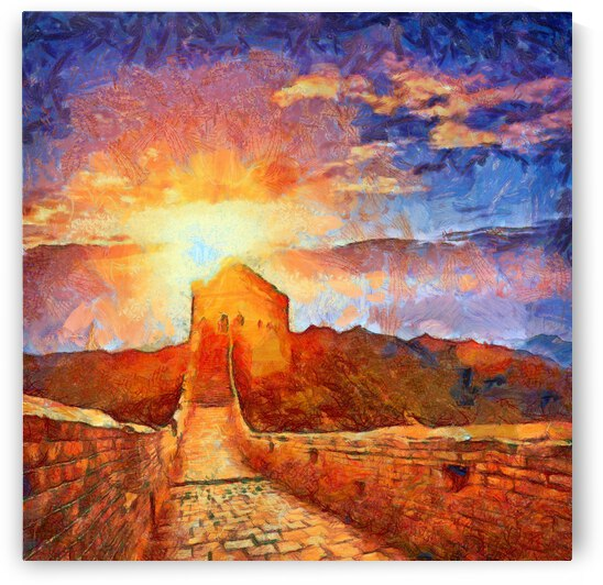 CHINA GREAT WALL OIL PAINTING IN VINCENT VAN GOGH STYLE. 83. by ArtEastWest