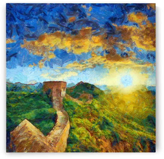 CHINA GREAT WALL OIL PAINTING IN VINCENT VAN GOGH STYLE. 84. by ArtEastWest