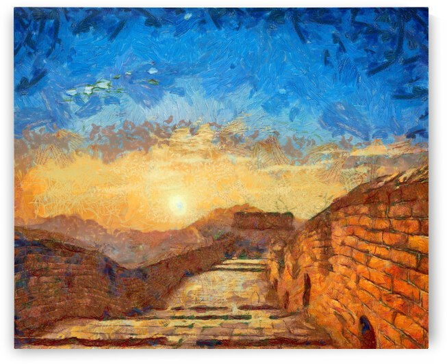 CHINA GREAT WALL OIL PAINTING IN VINCENT VAN GOGH STYLE. 79. by ArtEastWest