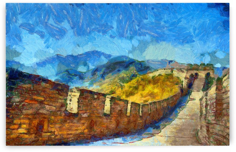 CHINA GREAT WALL OIL PAINTING IN VINCENT VAN GOGH STYLE. 67. by ArtEastWest
