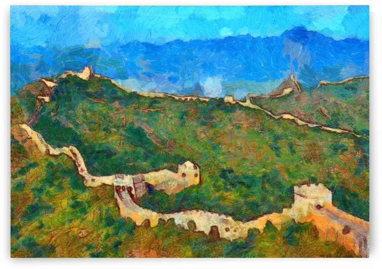 CHINA GREAT WALL OIL PAINTING IN VINCENT VAN GOGH STYLE. 69. by ArtEastWest