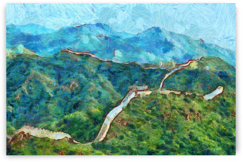 CHINA GREAT WALL OIL PAINTING IN VINCENT VAN GOGH STYLE. 64 by ArtEastWest