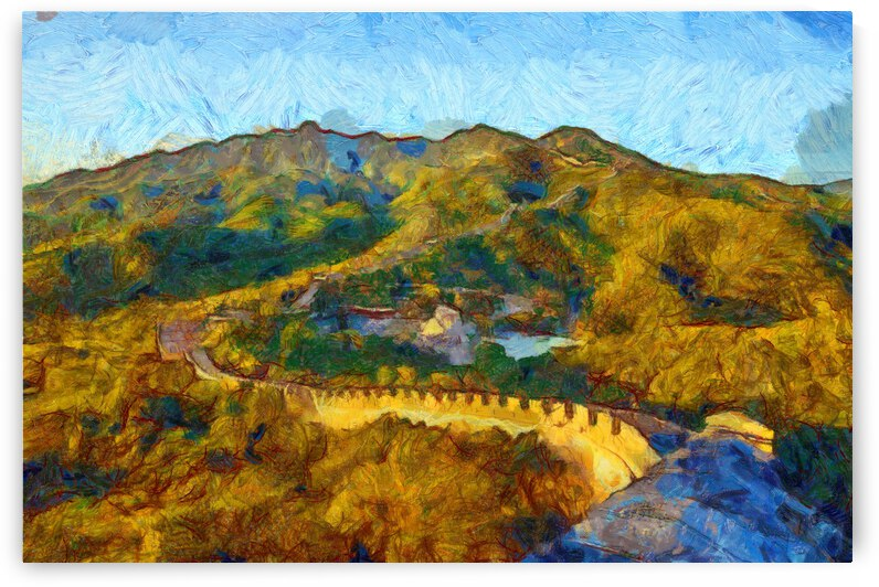 CHINA GREAT WALL OIL PAINTING IN VINCENT VAN GOGH STYLE. 58. by ArtEastWest