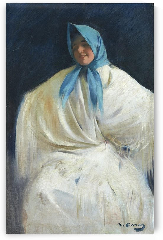 Girl with a Blue Scarf by Ramon Casas i Carbo