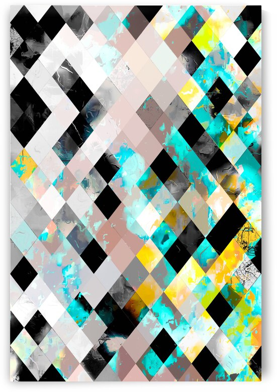 geometric pixel square pattern abstract background in blue yellow green by TimmyLA