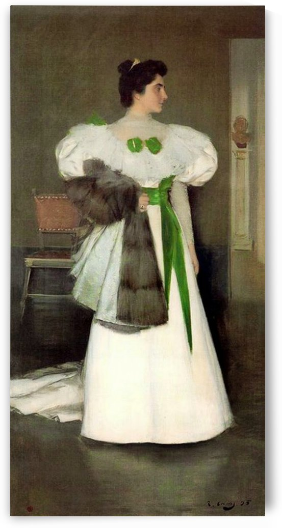 Portrait of a Lady in white dress by Ramon Casas i Carbo