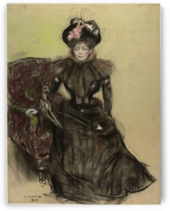 Portrait of a Lady in black dress by Ramon Casas i Carbo