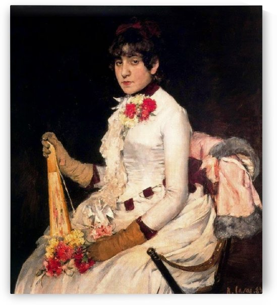 Portrait of a Lady in white dress sitting on chair by Ramon Casas i Carbo