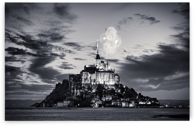 Mont Saint Michel Black And White by Stefano Senise Photography