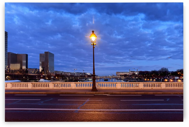 Blue hour at the Tolbiac Bridge in Paris by Hassan Bensliman
