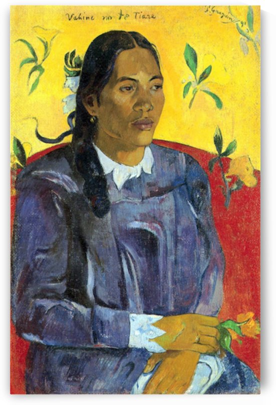 Woman with Flower by Gauguin by Gauguin