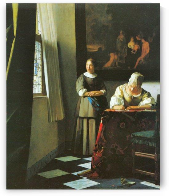Woman with messenger by Vermeer by Vermeer