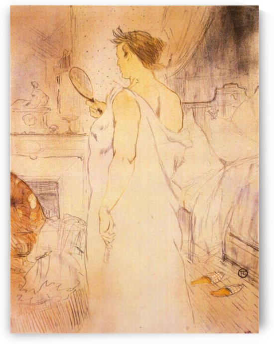Woman with mirror by Toulouse-Lautrec by Toulouse-Lautrec