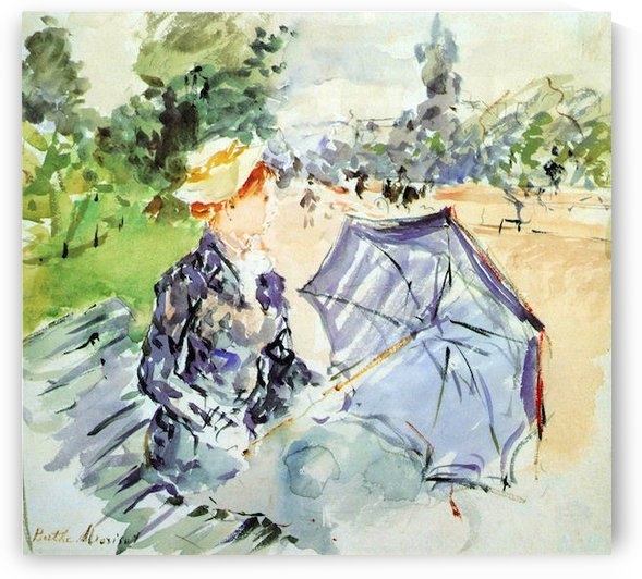 Woman with Parasol sitting in the park by Morisot by Morisot