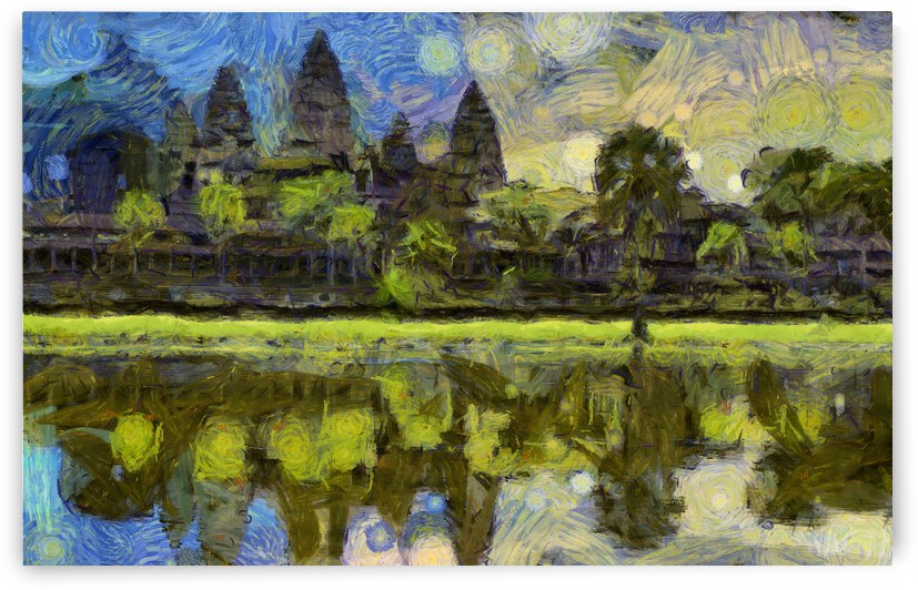 CAMBODIA Angkor Wat oil painting in Vincent van Gogh style. 36 by ArtEastWest