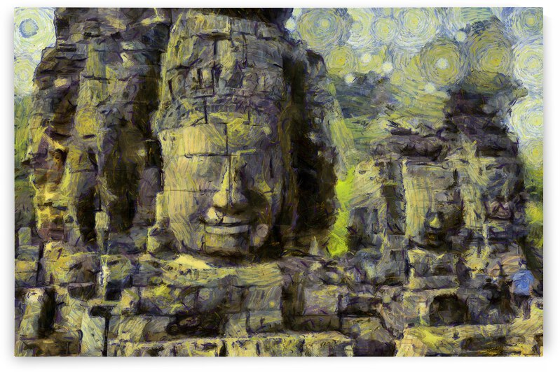 CAMBODIA Angkor Wat oil painting in Vincent van Gogh style. 80 by ArtEastWest